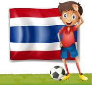 Football player in front of a Thai flag