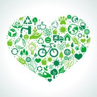 Vector ecology concept - heart made from icons and signs