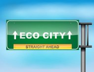 Highway sign with 'Eco City' text