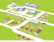 Township and industrial area vector