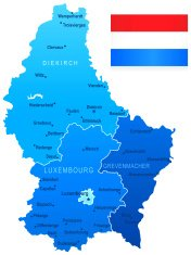 Map of Luxembourg - states, cities and flag