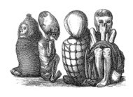 Mummies of Native Americans, South America (antique wood engravi
