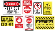 Caution danger and warning signs