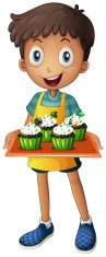 young boy holding a tray with cupcakes