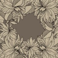 monochrome retro vintage vector frame abstract flowers and leave