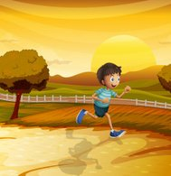 View of the afternoon with young boy running