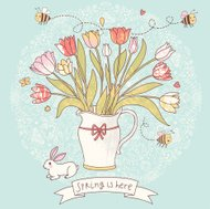 Gorgeous vase with tulips and little rabbit