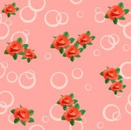 pink seamless texture with roses and circles
