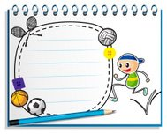 Notebook with drawing of boy jumping near empty space