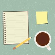 checklist and cup of coffee