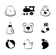 Sketch Baby Boy Icons Set (Black)