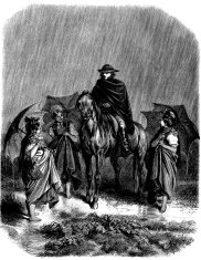 Antique illustration of people with horse under rain