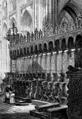 Antique illustration of inside Bayeux cathedral