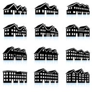 3-D vector icon set of apartment complexes