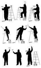 Multiple silhouettes of painter