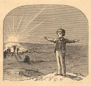 'Illustration of Boy Pointing East/West With Arms, From 1875'