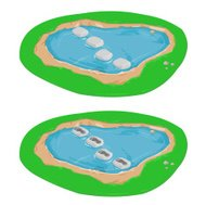 Isometric Stepping Stones with Footprints