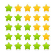 Five sign green yellow star web icon internet rating