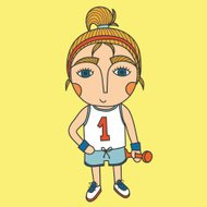Cute cartoon sport girl