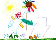 child's drawing - people, house, flower and sun