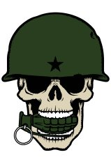 Skull with army helmet and a grenade in its mouth.
