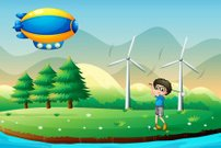 boy playing golf in the field with windmills