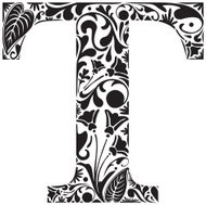 "Vector illustration of ""T"" with floral fill"