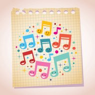 Happy music notes note paper cartoon illustration
