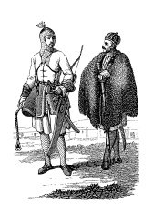 Circassian warrior (antique wood engraving)
