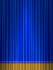 theatre blue gold curtain