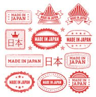 Made in the Japan Grunge Badge Set