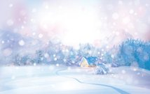 Vector of winter snowy landscape with lonely house in forest.
