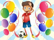 Soccer player in the middle of balloons