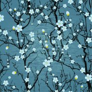 Seamless water background with pattern tree japanese cherry blos