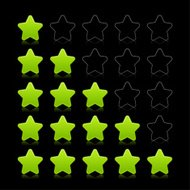 Five green star web icon internet rating sign black background