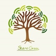 Share green concept tree
