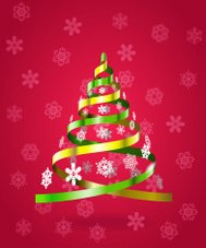 Stylized Christmas tree from ribbons.