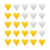 Five sign heart yellow gold web icon internet rating