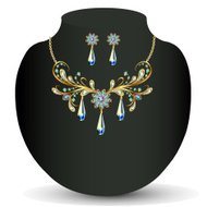 Golden necklace and earrings women's