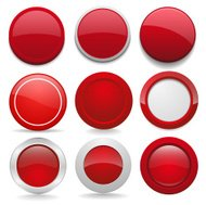 Red round buttons in nine different forms
