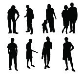 silhouettes de gens vector illustration