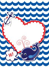 Funny Card with whale, anchor and frame on stripe background
