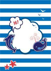 Funny Card with dolphin, whale and frame on stripe background