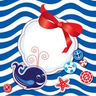 Card with whale, buttons, bow and frame on stripe background