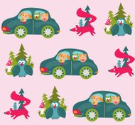 Car, fox and owl pattern
