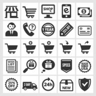 Online Shopping and Commerce black & white vector icon set