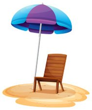 Stripe beach umbrella and a wooden chair