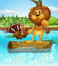 Lion and turkey above a floating trunk