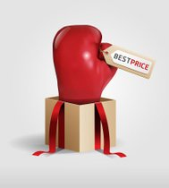 boxing day shopping creative sale idea red glove.vector