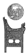 Medieval furniture - Wing chair and maiollica (antique wood engr